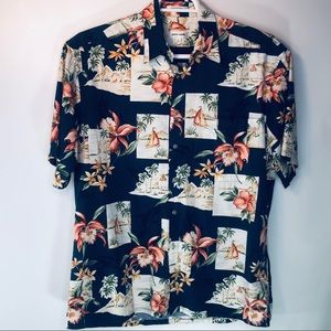 Vtg Pierre Cardin Hawaiian Shirt Sailboats Mens L